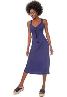 Vestido Mercatto Midi Amarração Azul-Marinho