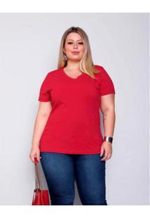 Blusa Plus Size Palank Decote V Cotton Feminina - Feminino-Vermelho