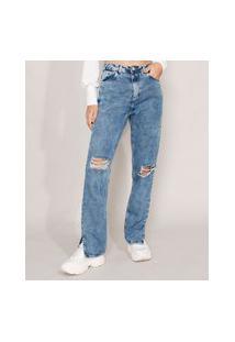 Calça Reta Jeans Destroyed Marmorizada Com Fendas Cintura Super Alta Azul Médio