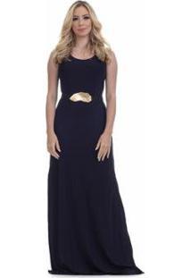 Vestido Clara Arruda Longo Fenda Lateral Feminino - Feminino