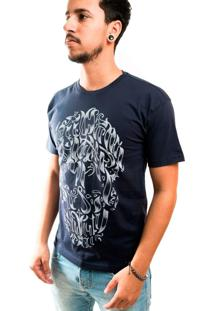 Camiseta Gola Normal Estampada Cinza Escuro Caveira Flores