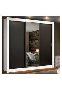 Guarda Roupa Casal Madesa Lyon Plus 3 Portas De Correr Com Espelho 4 Gavetas Branco/Preto Branco