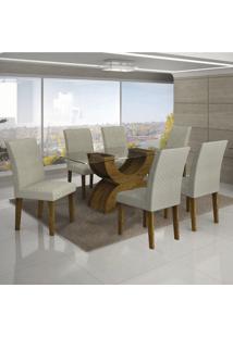 Conjunto De Mesa De Jantar Com 6 Cadeiras Olimpia Jacquard Canela E Branco
