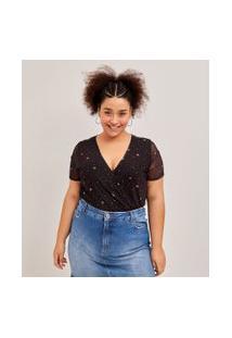 Blusa Em Tule Com Decote Transpassado Estampa Universo Curve & Plus Size | Ashua Curve E Plus Size | Preto | G