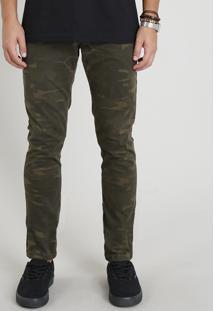 Calça De Sarja Masculina Slim Estampada Camuflada Verde Militar