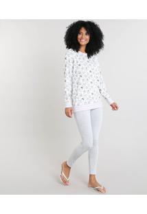 Pijama Feminino Estampado De Coala Manga Longa Off White