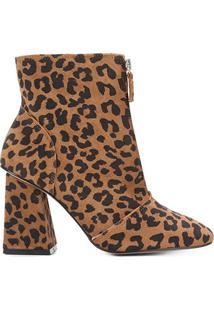 Bota Couro Shoestock Camurça Onça Salto Alto Feminina - Feminino