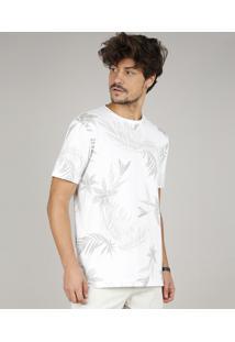 Camiseta Masculina Estampada De Folhagem Manga Curta Gola Careca Off White