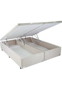 Cama Box Queen Size Com Baú Mega Colchões Suede Bege Com Pistão - 158X198