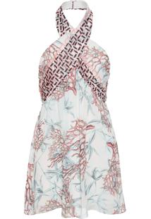 Vestido Curto Mix Coral - Off White