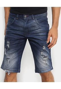 Bermuda Jeans Zune Com Elastano Estonada Masculina - Masculino