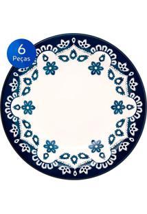Conjunto De Pratos Fundos 6 Peças Floreal Energy - Oxford - Branco / Azul