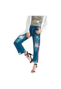 Calça Jeans Destroyed Cintura Alta