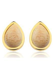 Brinco Toque De Joia Gota Única Amazonita Nude Dourado