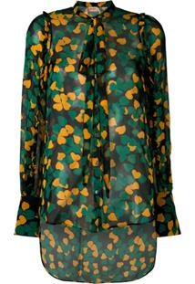Nº21 Blusa Floral Translúcida De Seda - Estampado