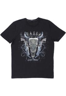 Camiseta Estampada Tassa 23120 Masculina - Masculino-Preto