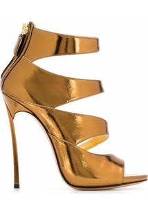 Casadei Sandália Com Abertura Frontal E Salto 125Mm - Dourado