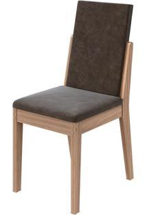 Cadeira Lira Velvet Chocolate Carvalho Naturale