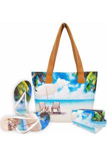 Kit Feminino Praia Cadeiras Com Bolsa, Necessaire E Chinelo, Magicc - Kanui