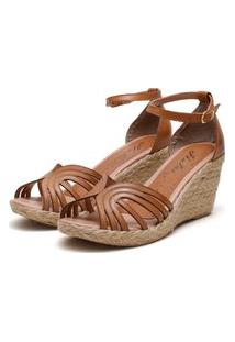 Sandália Anabela Plataforma Sb Shoes Ref.1275 Caramelo