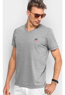 Camiseta Coca-Cola Gola V Masculina - Masculino-Cinza