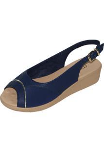 Sandália Malu Super Comfort Relax Azul Marinho