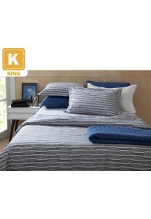 Jogo Cama King 4 Peças: 1 Lençol De Baixo + 1 Lençol De Cima + 2 Fronhas 100% Algodão Percal 200 Fios Home Design Mint Cinza - Corttex