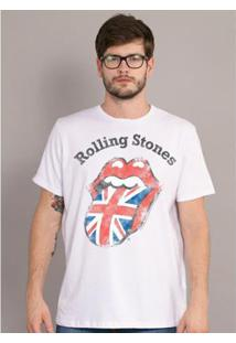 Camiseta Bandup The Rolling Stones Uk Flag - Masculino-Branco