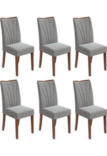 Conjunto Com 6 Cadeiras Apogeu Imbuia E Cinza