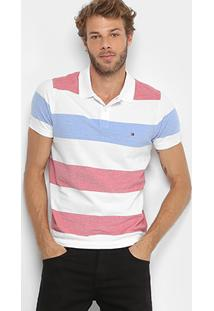 Camisa Polo Tommy Hilfiger Piquet Listras Masculina - Masculino