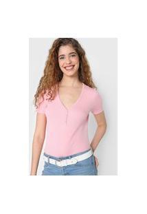 Blusa Gap Botão Rosa