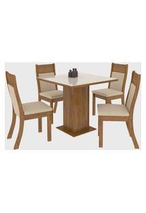 Sala De Jantar Louise R C/4 Cadeiras Roma Imbuia/Off White Viero Móveis