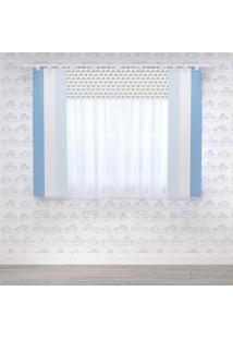Cortina Quarto Bebê Azul Carrinhos 1,50M Grão De Gente Azul