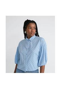 Camisa Manga Longa Bufante Em Laise   Blue Steel   Azul   Gg