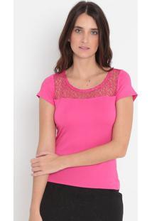 Blusa Com Renda- Pink- Malweemalwee