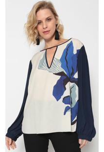 Blusa Abstrata Com Recortes - Off White & Azul - Mormorena Rosa