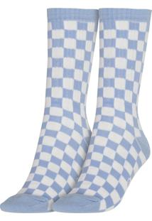 Meia Socks Co Xadrez Race Azul/Branco