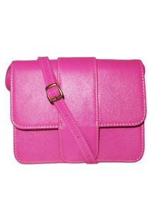 Bolsa De Couro Transpassada Básica - Ref.142 Rosa