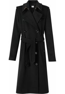 Burberry Trench Coat De Cashmere - Preto