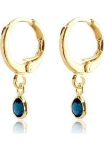 Brinco Piuka Argolinha Articulada Folheado Ouro Feminino - Feminino-Dourado+Azul