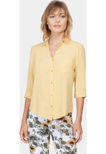 Camisa Mangas 3/4 Em Tecido Amarelo Gamuza - Lez A Lez