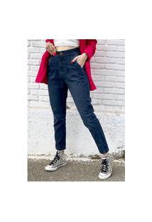 Calça Mom Jeans Com Pregas Cintura Alta Sob Azul Escura