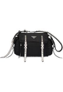 Prada Studded Strap Shoulder Bag - Preto