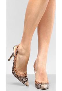 Scarpin Shoestock Salto Alto Cobra - Feminino-Caramelo+Bege