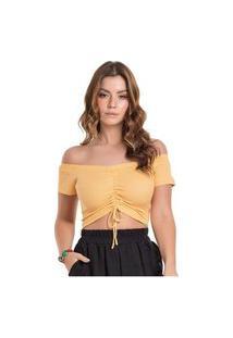 Cropped Ciganinha Ombro A Ombro Feminino Com Amarração Na Frente Em Ribana Lisa Amarelo