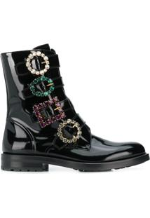 Dolce & Gabbana Bota Com Fivela - Preto