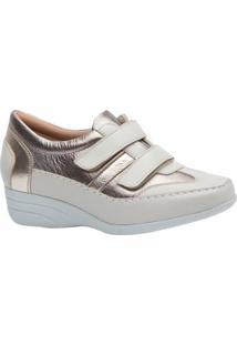 Sapato Conforto Doctor Shoes Anabela Couro Galcê Feminino - Feminino-Dourado