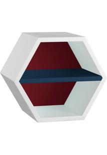 Nicho Hexagonal Favo Ii Com Prateleira Branco Com Bordo E Azul Noite