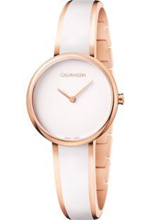 Relógio Calvin Klein Feminino Aço Branco - K4E2N616