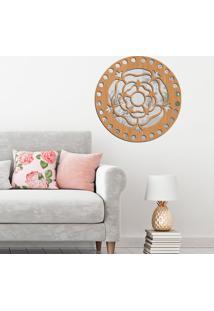 Escultura De Parede Wevans Mandala Rosa, Madeira + Espelho Decorativo -